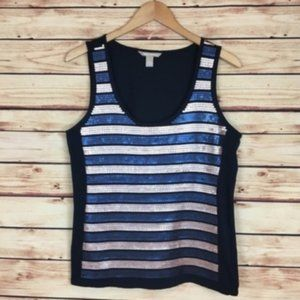 NEW Banana Republic Sequin Striped Tank Top Large